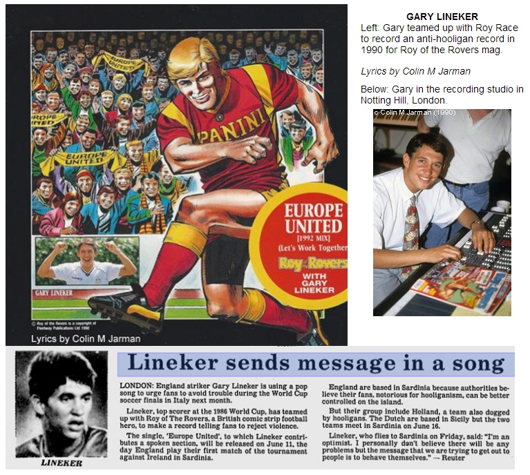 Gary Lineker - Roy Of The Rovers single - newspaper clippings