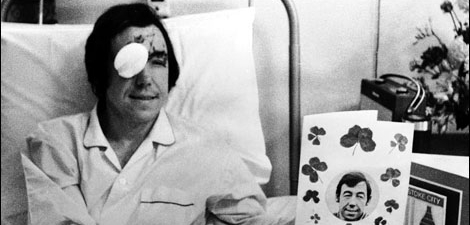 Gordon Banks in the hospital after his crash