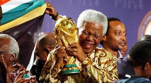 Mandela with the World Cup